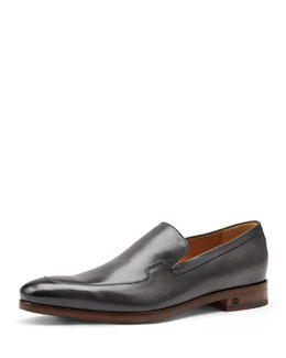 Gucci Shaded Leather Loafer, Dark Gray