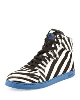 Gucci Zebra-Print Calf Hair High-Top Sneaker