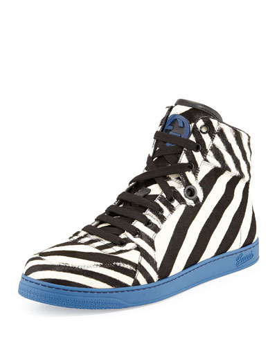 Gucci Zebra-Print Calf Hair High-Top Sneaker