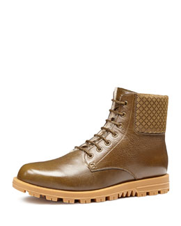 Gucci Leather Lace-Up Boot, Olive