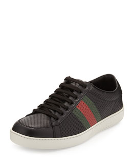 Gucci Perforated Leather Web Sneaker, Black