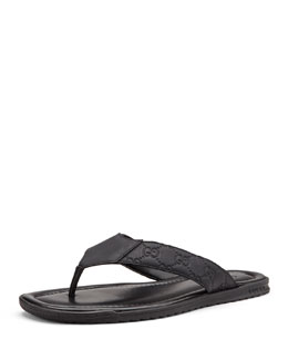 Gucci Rubberized Leather Thong Sandal, Black