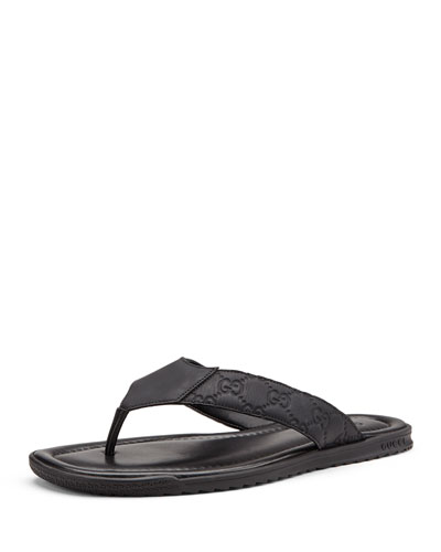 Rubberized Leather Thong Sandal, Black