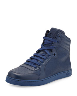 Gucci Diamante Leather High-Top Sneaker, Blue