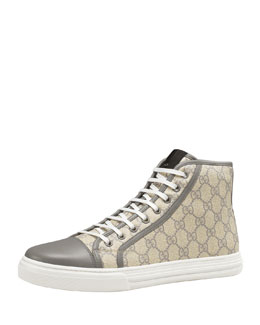 Gucci GG Supreme Canvas Lace-Up Sneaker, Gray