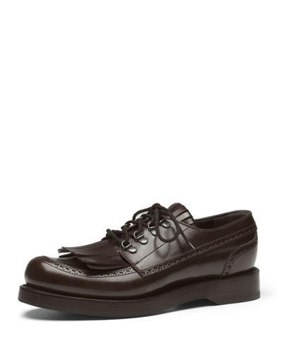 Gucci Fringed Brogue Lace-Up Shoe, Brown
