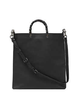 Gucci Convertible Leather Tote Bag, Black