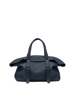 Gucci Leather Top Handle Duffle Bag, Navy