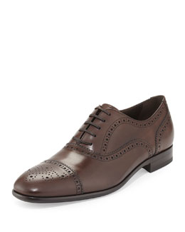 Salvatore Ferragamo Pinto Medallion Cap-Toe Oxford, Brown
