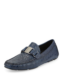Salvatore Ferragamo Sardegna 2 Buckled Crocodile Driver, Navy