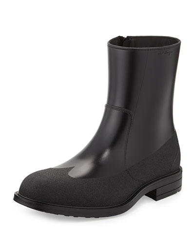 Salvatore Ferragamo  Baltimora Shearling-Lined Rain Boot, Black