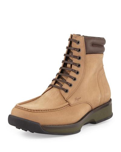 Salvatore Ferragamo Payton Leather Hiking Boot, Light Tan