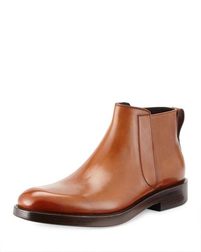Salvatore Ferragamo Poem Leather Chelsea Boot, Hazelnut