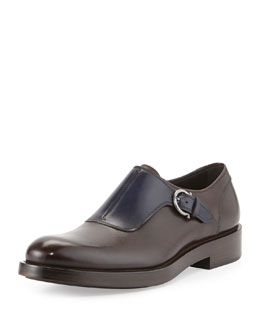 Salvatore Ferragamo Patton-Runway Monk-Strap Loafer, Chocolate/Blue