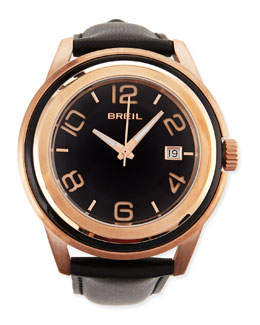 Breil Men's Orchestra Leather-Strap Watch, Black/Rose Gold