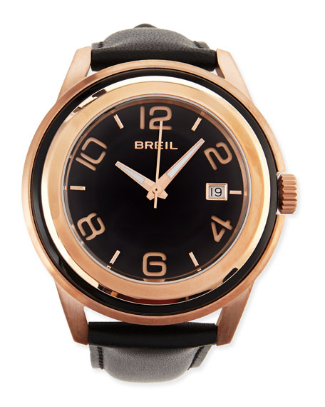 Men's Orchestra Leather-Strap Watch, Black/Rose Gold