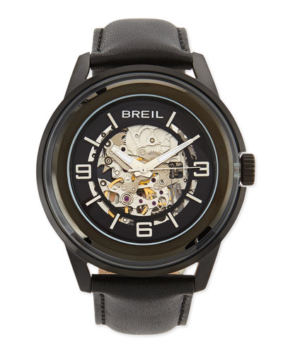 Breil Orchestra Leather-Strap Skeleton-Dial Watch