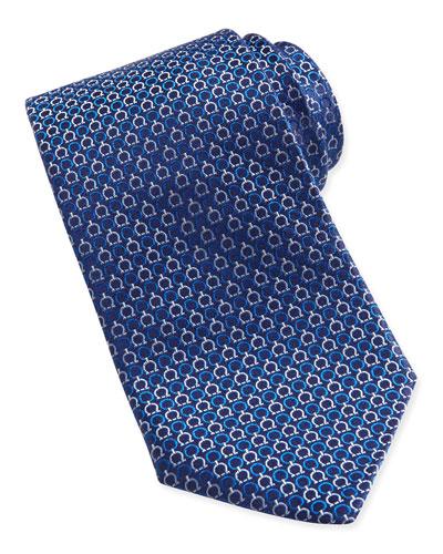 Salvatore Ferragamo Gancini-Pattern Woven Tie, Blue/Pink