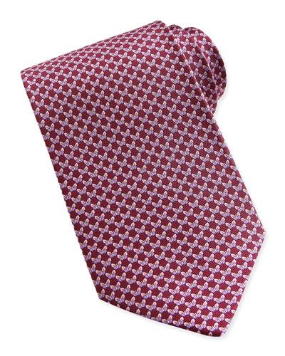 Salvatore Ferragamo Butterfly-Pattern Woven Tie, Red/Pink