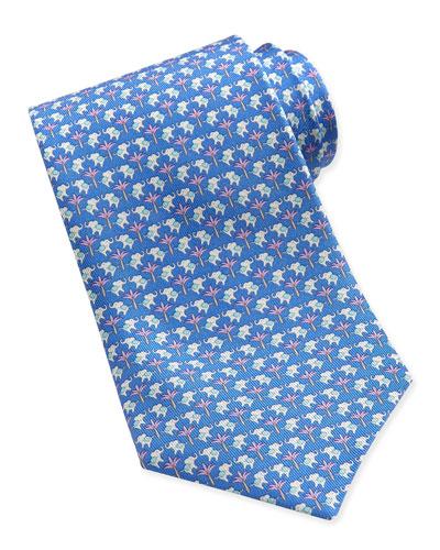 Salvatore Ferragamo Elephant-Pattern Woven Tie, Blue/Pink