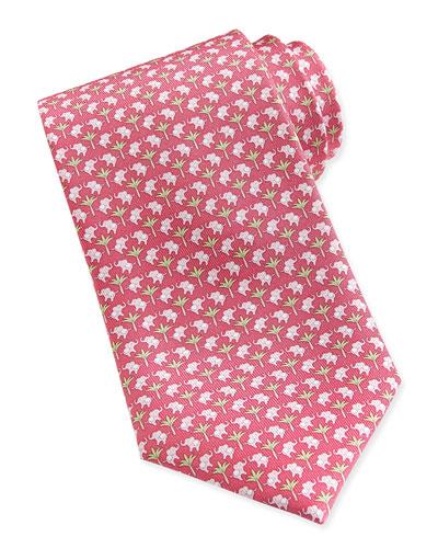 Salvatore Ferragamo Elephant-Pattern Woven Tie, Pink/Green