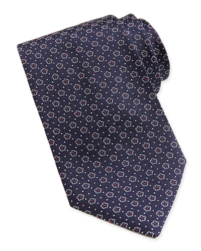 Salvatore Ferragamo Floral-Pattern Woven Tie, Navy/Red