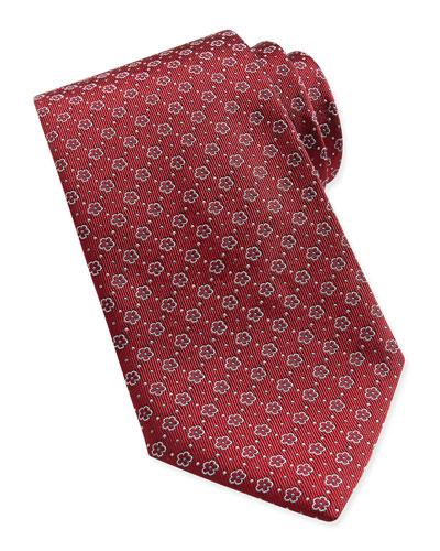 Salvatore Ferragamo Floral-Pattern Woven Tie, Dark Red