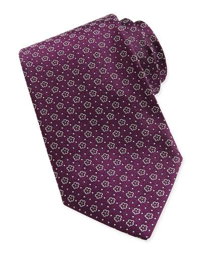 Salvatore Ferragamo Floral-Pattern Woven Tie, Plum