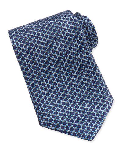 Salvatore Ferragamo Butterfly-Pattern Woven Tie, Blue