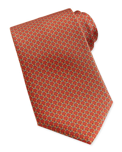 Salvatore Ferragamo Butterfly-Pattern Woven Tie, Burnt Orange
