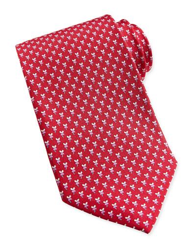 Salvatore Ferragamo Hibiscus Flower Woven Tie, Red