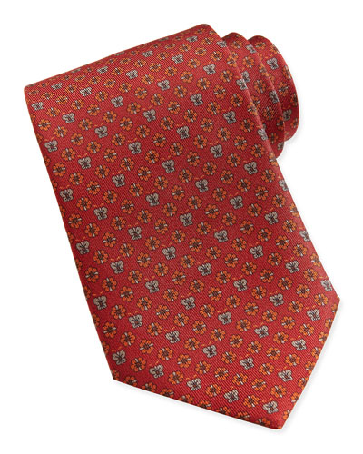 Salvatore Ferragamo Butterfly/Flower Woven Tie, Orange