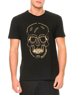 Alexander McQueen Embroidered-Skull Short-Sleeve Tee
