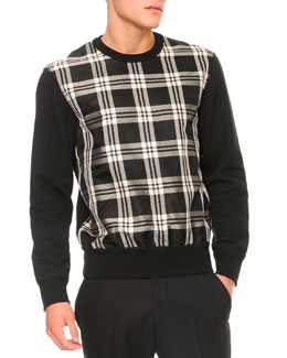 Alexander McQueen Plaid-Front Pullover Sweater, Black/White