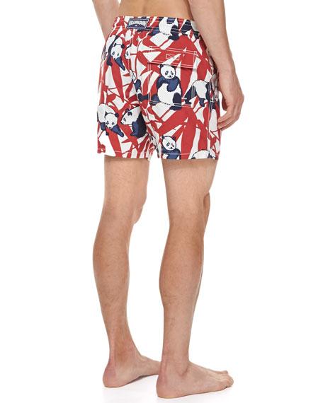 Men's Panda-Print Moorea Swim Trunks, Red/White/Navy