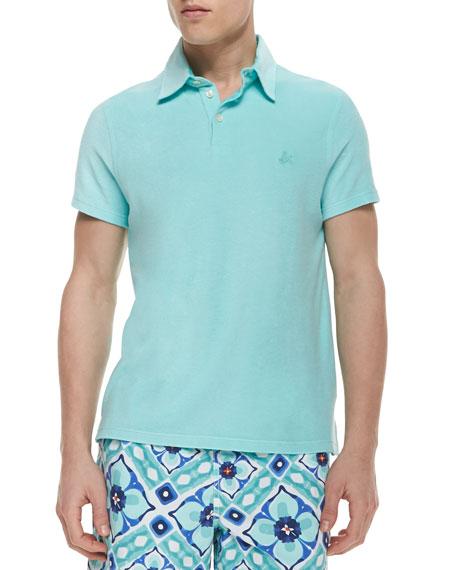 Vilebrequin short sleeve terry cloth polo shirt aqua blue for Terry cloth polo shirt
