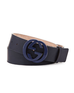 Gucci Interlocking G Gommato Belt, Blue