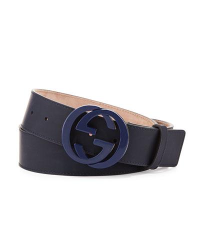 Gucci Interlocking G Gommato Belt, Blue