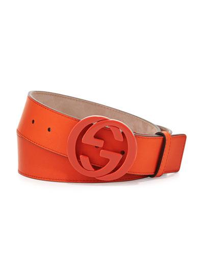 Gucci Interlocking G Gommato Belt, Orange