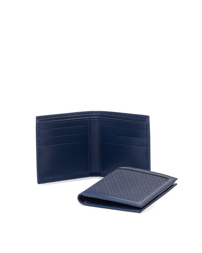 Diamante Leather Bi-Fold Wallet, Blue