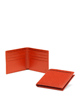 Gucci Diamante Leather Bi-Fold Wallet, Orange
