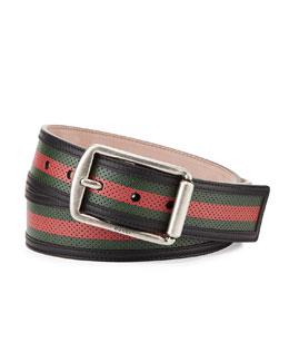Gucci Perforated Leather Belt, Black