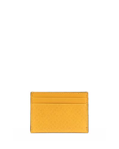 Gucci Diamante Leather Card Case, Yellow