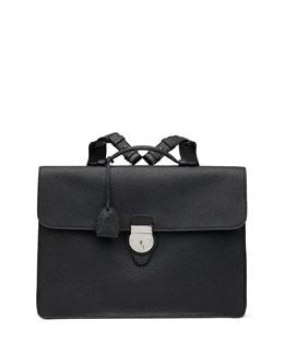Leather Briefcase Backpack, Black