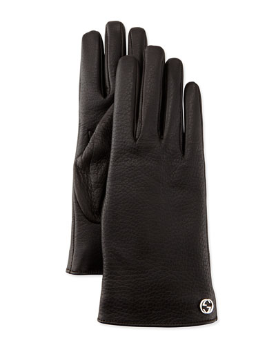 Interlocking G Napa Leather Gloves, Brown