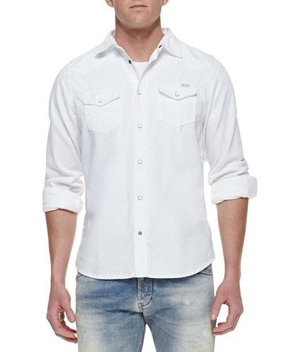 Diesel Sonora Denim Western Long-Sleeve Shirt, White