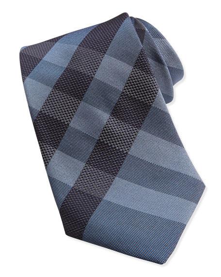Burberry Woven Check Silk Tie, Blue/Black