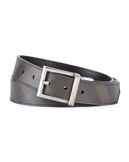 Burberry Reversible Check Belt, Smoke/Black