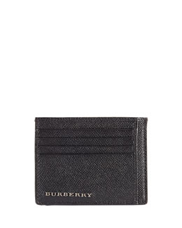 Burberry Pebbled Leather Card Case, Black