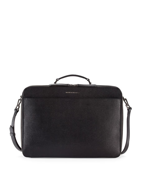 Burberry London Leather Blackmore Briefcase, Black